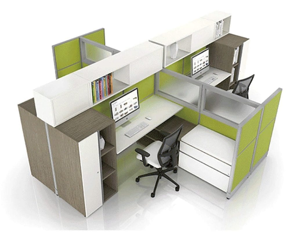 Office desk system that has 4 desks attached to each other by OFDC Commercial Interiors