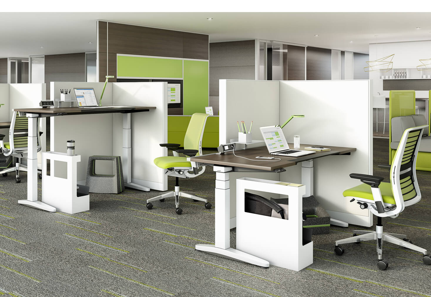 Office with multiple desks and green rolling chairs by OFDC Commercial Interiors
