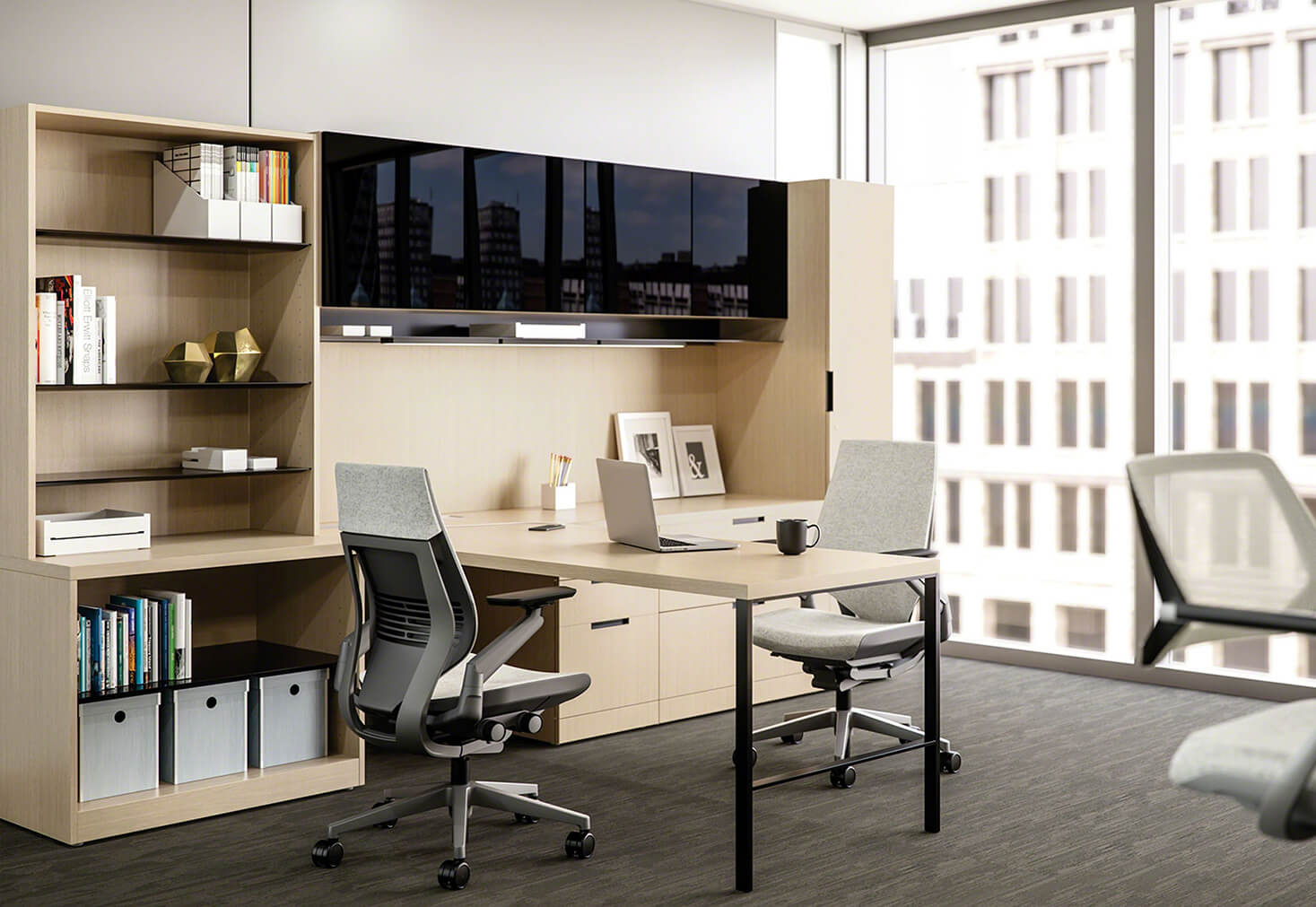 Office by OFDC Commercial Interiors with a desk and two chairs in front of a large window and TV