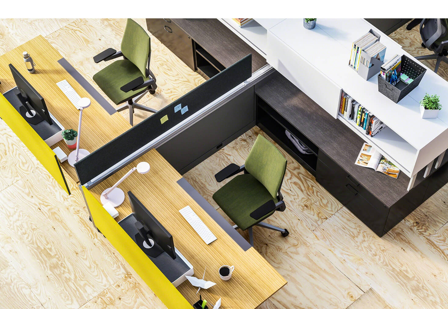 Aerial view of two cubicles both with green chairs by OFDC Commercial Interiors