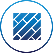 Diagonal blocks lined up like a brick wall surrounded by a blue circle on transparent background