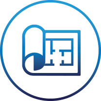 Blue blueprint icon surrounded by a blue circle on transparent background