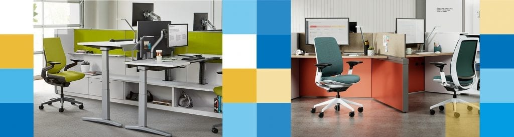 2 pictures of different offices. Both with multiple desks and chairs by OFDC Commercial Interiors
