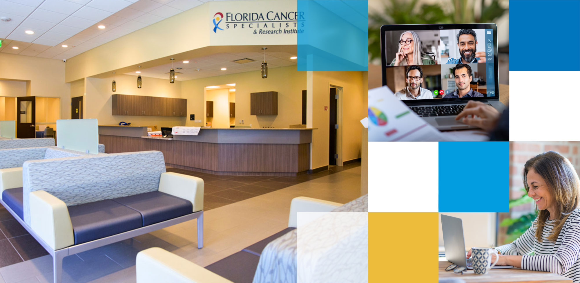Header image featuring medical waiting area with commercial office furniture by OFDC Commercial Interiors and woman Zooming with coworkers
