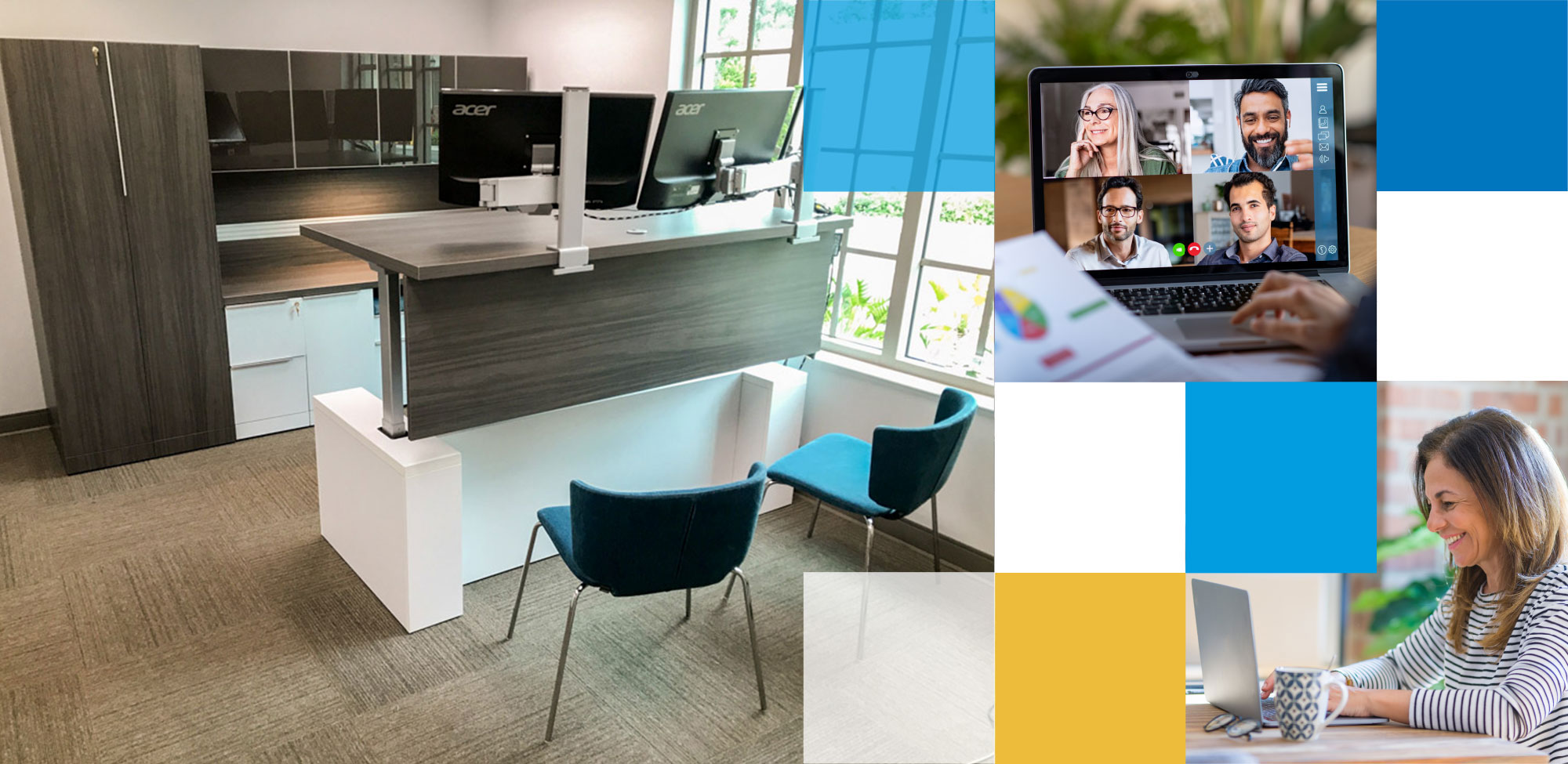 Header image with standing desk design by OFDC Commercial Interiors with 2 chairs while woman virtually meets with coworkers